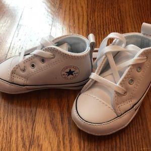 White size 2 infant converse shoes